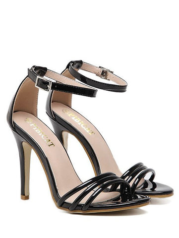 Ankle Strap Strappy Patent Leather Sandals