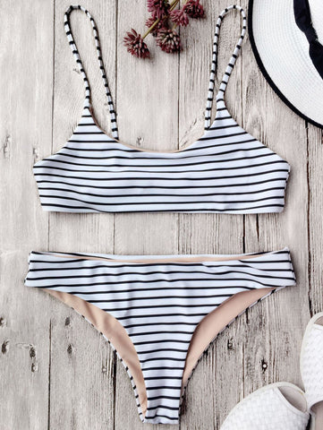 White Cami Striped Bralette Bikini Set