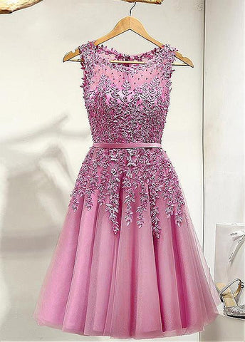 Elegant Tulle Bateau Neckline A-line Homecoming Dresses With Lace Appliques
