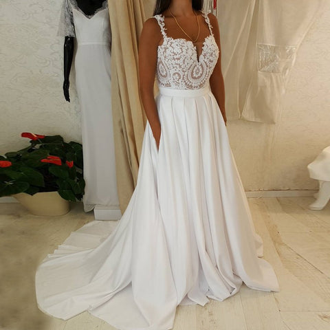 Straps Sweep Train Satin Chiffon Wedding Dress with Pockets Lace