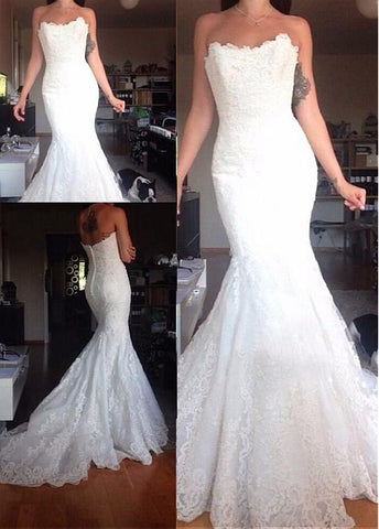 Lace Appliques Tulle Strapless Mermaid Wedding Dress