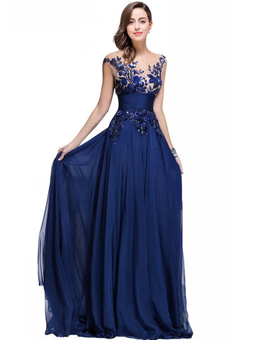 Blue Long Prom Lace Dresses with Sequins