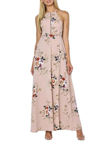 Pink Split Floral halter Beach Party Maxi Dress