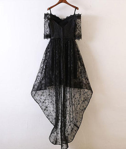 Black Lace High Low Lace Evening Prom Dress