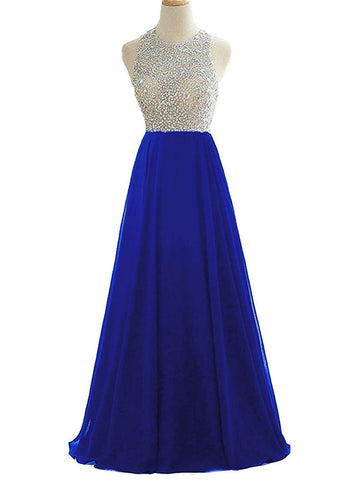Blue Sequins Keyhole Back Evening Ball Gown Beaded Prom Formal Dresses