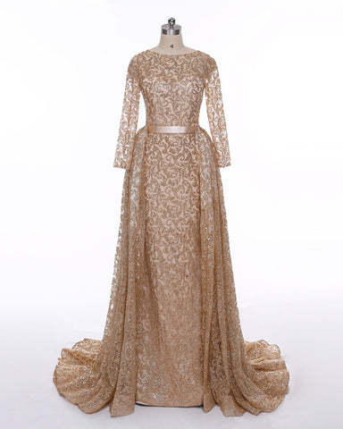 Long Sleeves Sequin Gold Mermaid Prom Dress