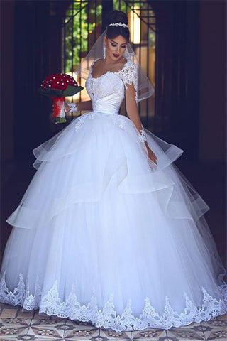 Long Sleeves Sheer Lace Tulle Puffy Tulle Ball Gown Wedding Dress