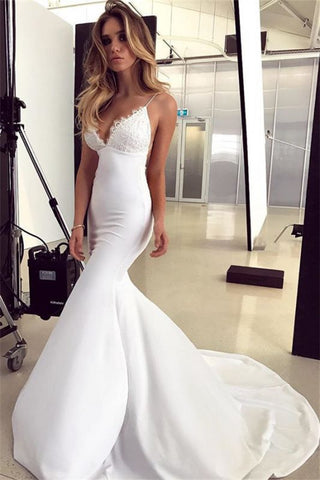 Mermaid Spaghetti Straps Satin Appliques Sleeveless Wedding Dress