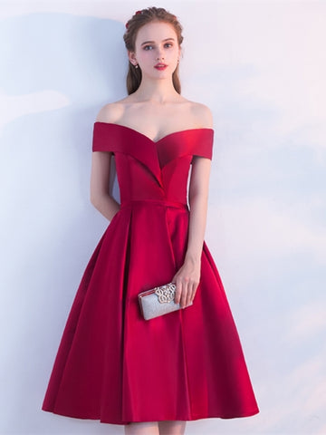 Burgundy Sashes Off-the-Shoulder Knee-Length Homecoming Dress