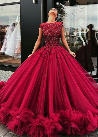 Cap Sleeves Ball Gown Evening Dress