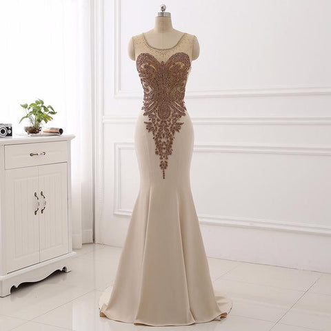 Champagne Satin Scoop Beading Appliques Mermaid Prom Dress