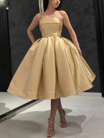 Satin Simple Strapless Tea Length Golden Prom Dress
