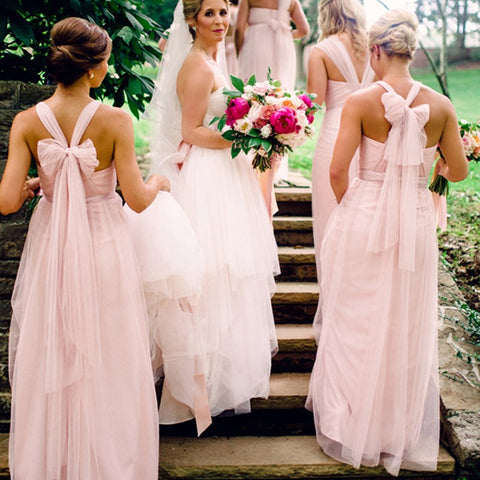 Floor Length Halter Bridesmaid Dress with Bowknot