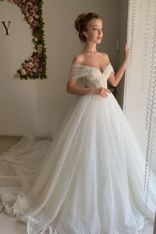 Off The Shoulder Backless Sweetheart Pearl Ball Gown Wedding Dress
