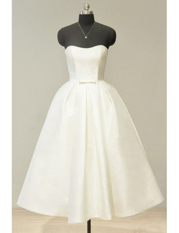 Sweetheart Tea Length Ivory Satin Vintage Wedding Dress