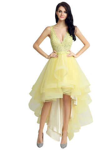 Lovely Tulle & Lace V-neck Neckline Cut-out Back Hi-lo A-line Homecoming Dresses