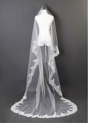 Beautiful Ivory Tulle Cathedral Wedding Veil With Lace Applique Edge