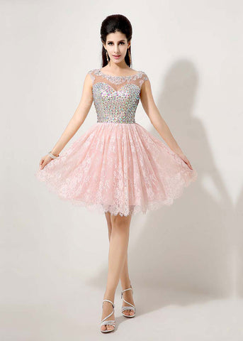 Elegent Tulle & Lace Bateau Neckline Short A-line Homecoming Dresses With Beadings