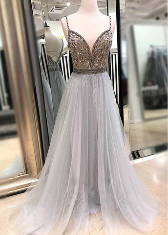 Tulle Spaghetti Straps Gary Beading Floor-length A-line Prom Dress