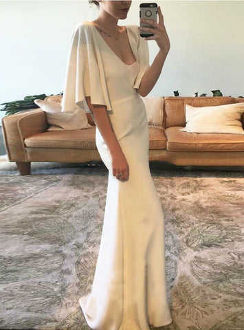 V Neck Floor Length Satin Cap Sleeve Sheath Column Wedding Dress