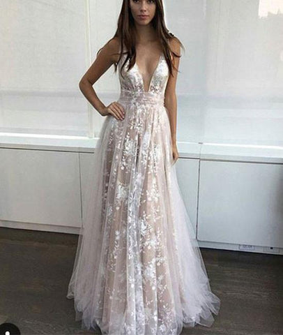 Simple V Neck Tulle Lace Long Wedding Dress