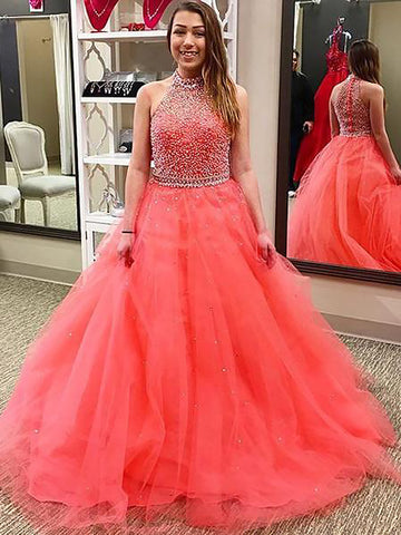 Ball Gown Halter Beading Pink Tulle Prom Dress