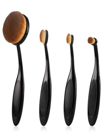 Black 4 Pcs Toothbrush Shape Makeup Brushes Set