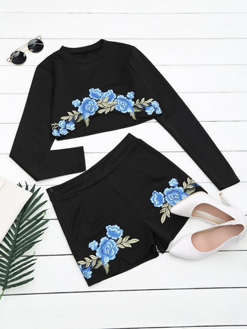 Black Floral Patched Top and Shorts Set