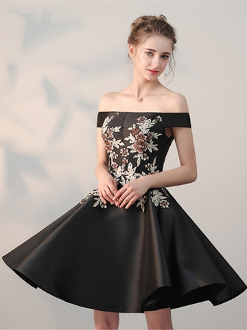 Red & Black Embroidery Short Homecoming Dress