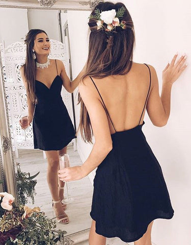 Backless Satin Black Mini Homecoming Dress
