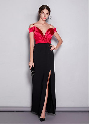 Spaghetti Straps Neckline Sheath/Column Prom Dress