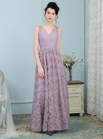 Lavender V-Neck Floor Length Long Lace Prom Dress
