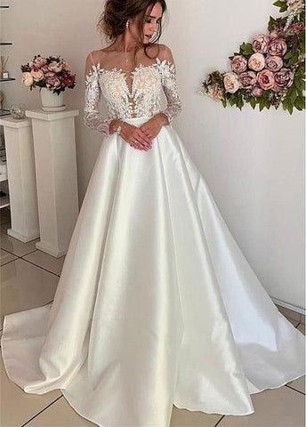 Long Sleeves A-line Tulle & Satin Jewel Wedding Dresses With Lace Appliques