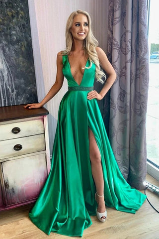 Sweep Train V Neck Beading Sexy Green Satin Prom Dress With Slit