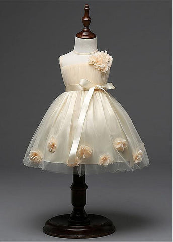 Marvelous Tulle Jewel Neckline Ball Gown Flower Girl Dresses With Handmade Flowers
