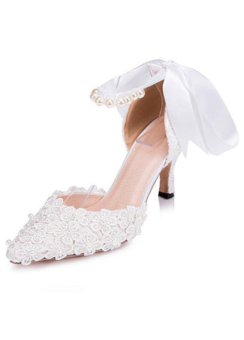 Sweet Lace Upper Pointed Toe Stiletto Heels Wedding/ Bridal Party Shoes With Ribbon & Pearls & Lace Flowers