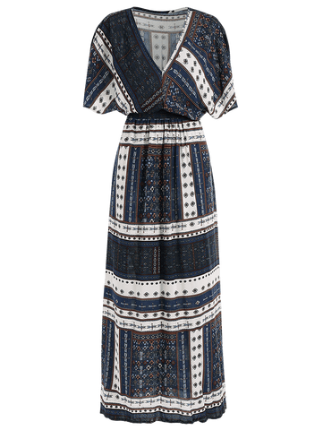 Belted Tribal Print Slit Maxi Dress