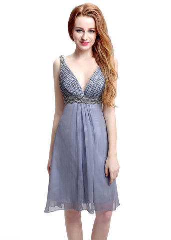 Exquisite Chiffon V-neck Neckline Knee-length A-Line Homecoming Dresses With Beadings