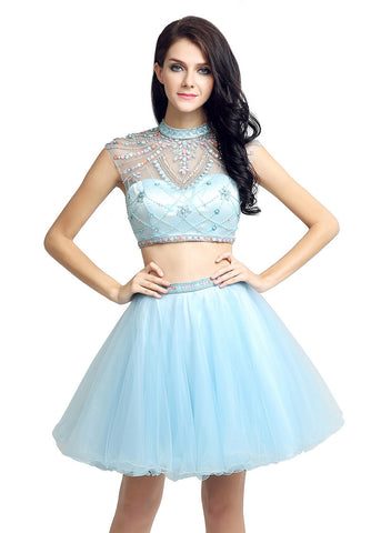 High Collar Two-piece  Homecoming Dress