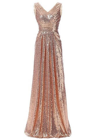 Shining Sequin Lace V-Neck A-Line Evening Dresses