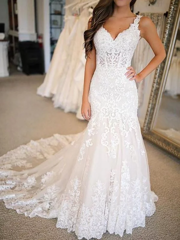Trumpet Mermaid Tulle Applique V-neck Wedding Dress