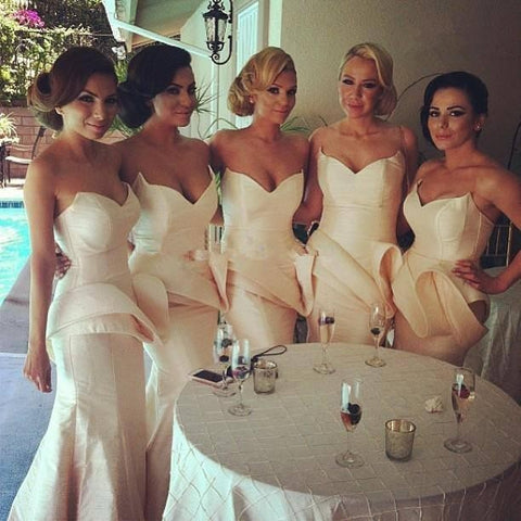 Ivory Sheath Sweetheart Bridesmaid Dress