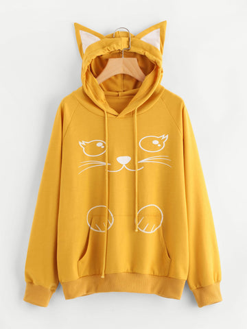 Yellow Cute Contrast Cat Ear Cartoon Print Hoodie