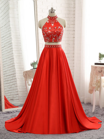 Red Satin High Neck Prom Dress