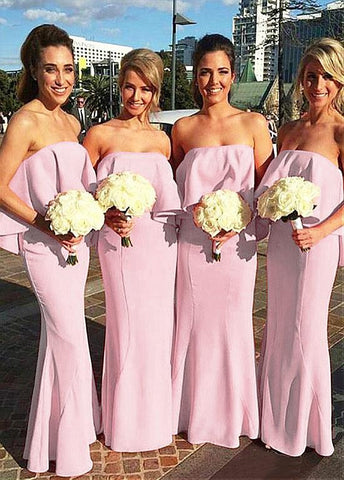 Stunning Stretch Charmeuse Off-the-shoulder Neckline Sheath Bridesmaid Dresses