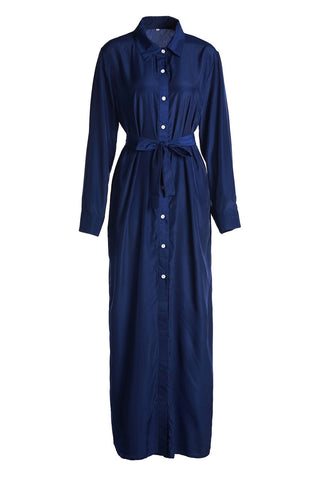 Chic Blue Shirt Neck Long Sleeve Maxi Dress