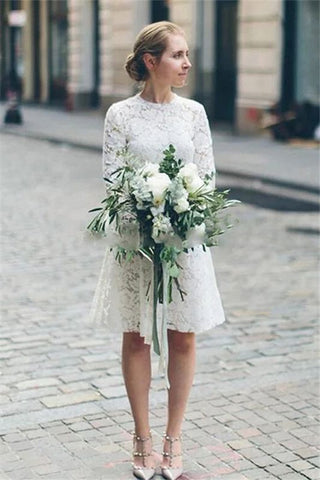 Chic A-line Cheap Short Long Sleeve Lace White Short Wedding Dress