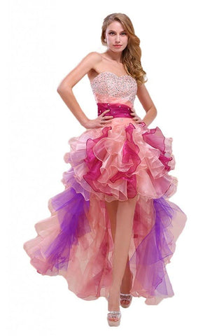 Colorful High-Low Formal Prom Dress