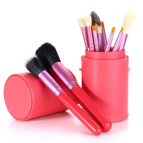 Makeup Brushes Set Cosmetic Red Cylinder Leather Case 12Pcs