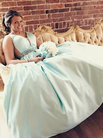 Beading Blue Satin Plus Size Prom Dress